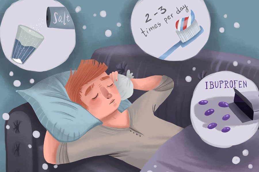 Cartoon of a man recovering from oral surgery with bubble containing suggestions.